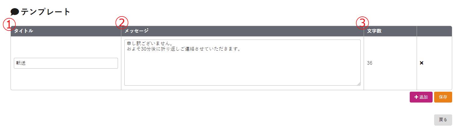 テンプレート編集画面